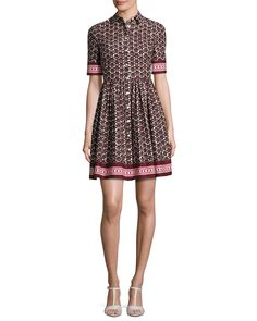 kate spade new york printed poplin a-line shirtdress, brown/multicolor