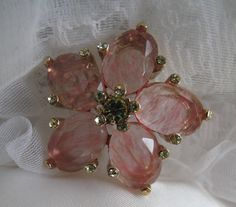 Pink Glass Stone Vintage Brooch by mimiyaya on Etsy, $18.00