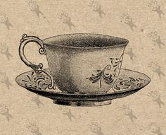 Vintage Image Tea cup Teacup Coffee cup retro Instant Download picture Digital printable clipart  graphic stickers, burlap etc HQ 300dpi by UnoPrint on Etsy