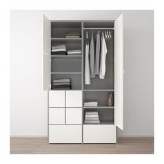 IKEA VISTHUS wardrobe The bottom drawers have castors and therefore easy to move about.