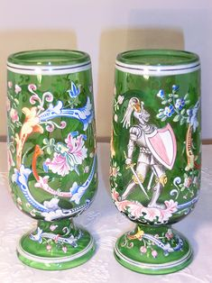 TWO HARRACH ENAMELED VASES IN THE HISTORISMUS SYTLE. Circa 1880 www.madforglass.com Mason Jar Wine Glass, Glass Collection, Vases, Roman, Glass Art, Tableware, Crystals, Lily, Dinnerware