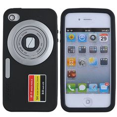 Black Luckcase Camera Style Silicone Case   Screen Protector for iPhone 4G
