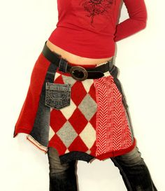 Fantasy+patchwork+recycled+mini+skirt+jeans+and+by+jamfashion,+$87.00