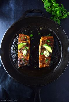 Blackened salmon with cilantro lime butter may be the easiest, most delicious salmon recipe you will EVERmake. Never blackened fishbefore? It's as easy as seasoning a filet with blackening seasoning and searing for 3-4 minutes per side in a pan or preferably a cast iron skillet, of course. Cast iron