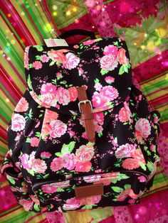 Victoria's Secret PINK Boho style BackPack. Black all over with light pink roses all over