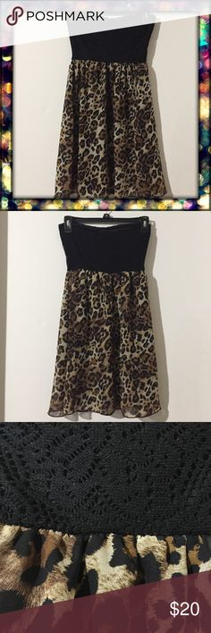 Leopard Print Strapless Dress Leopard print strapless chiffon dress. Padded (not removable). Lightly used, no defects. Made of 100% polyester (Contrast is made of 95% polyester, 5% spandex). Velvet Room Dresses Mini