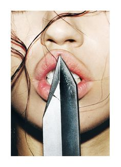 Erotic, sensual and vicious.the cold knifes edge pressed against her soft lips scream intent. (Artist and source needed) Dark Beauty, Art Photography, Fashion Photography, Indoor Photography, She Wolf, Come Undone, Art Graphique, Storyboard, Dark Side