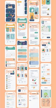 Cartoon UI Funky looking Ui kit for activity and nutrition tracking Android Design, App Ui Design, Best App Design, Responsive Web Design, Gui Interface, User Interface Design, Mobile Design, Mobile App Design Templates, App Design Inspiration