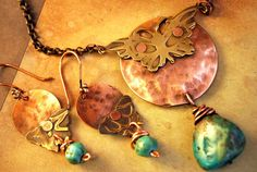 Butterfly Moon Hammered Disc Riveted Butterfly Necklace by ORRTEC, $52.00