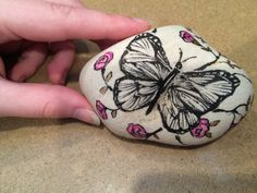 Beack Rock with butterfly and roses//marker and paint pens//garden//patio//floral//vine//illustration//nature//gift//housewarming//birthday