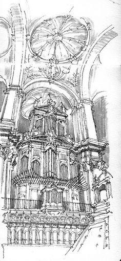 Interior pencil sketch o dome, arches and church organ byLuis_Ruiz