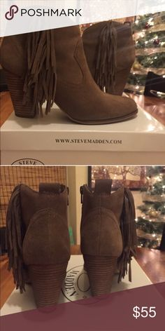 Steve Madden Cian booties Wore them only one time. Taupe color Steve Madden Shoes Ankle Boots & Booties