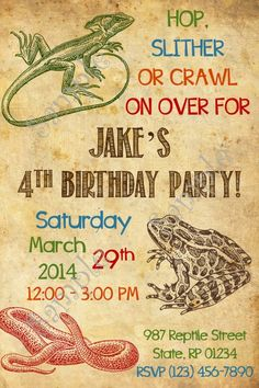 Free printable reptile party invitation Animal Party Invitations