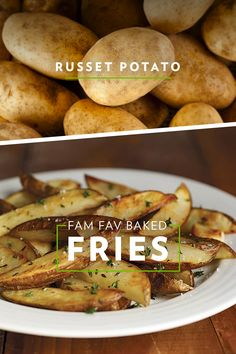 Best potato for fries? The russet! Russets cook up crispy on the outside and fluffy on the inside, making them the perfect choice for these golden brown family-favorite baked fries. Best Fried Potatoes, Meat Recipes, Healthy Recipes, Recipies, Crispy Pickles Recipe, Easy Dinner Recipes, Easy Meals, Air Fryer Recipes Easy, Potato Dishes