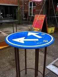 Traffic signs repurposed as furniture. Signal boards, speed limts and streetname boards recycled as tables chairs and benches. Street sign furniture artists upcycle and repurpose traffic signs. Urban Furniture, Street Furniture, Repurposed Furniture, Furniture Design, Homemade Tables, Homemade Furniture, Street Signs, Cool Chairs, Art Object