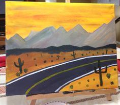 A drive through the desert Deserts, Paintings, Simple, Art, Craft Art, Desserts, Dessert, Painting, Kunst