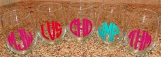 Monogrammed Stemless Wine Glass by TripleACreations on Etsy, $7.20