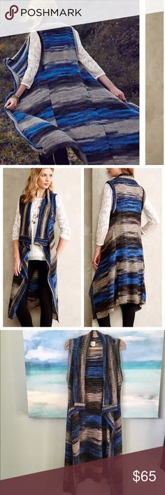"""Anthropologie Sweater Vest Spacedye Duster Size M/L. This is so gorgeous in person! Open Front so plenty of room to move around.  Try pairing it with a tunic and leggings for a relaxed, weekend-chic look. Spacedye Sweater Vest. See reviews on Anthropologie.com  By Moth Open front Acrylic Dry clean Regular: 40.25"""" ✨In excellent condition. ✨ Anthropologie Sweaters Cardigans"""