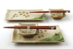 Sushi for Two Sets_Hagi Branch F965A by Miya. $39.95. Made in Japan. Sushi for Two Sets. 2 pcs rectangular plates. 2 pcs sauce bowls & 2 pairs chopsticks. Perfect not only for sushi, but artful salads and side dishes as well. These Japanese stoneware pieces make a wonderfully versatile addition to any kitchen pantry.