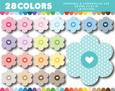 Flower with polka dots clipart in 28 colors, CL-1368