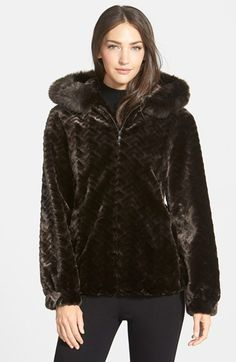 Gallery Hooded Blouson Faux Fur Jacket (Regular & Petite) (Online Only) available at #Nordstrom