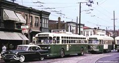 RT.75 TRACKLESS TROLLEY AND RT.50 PCC TROLLEY, 5TH. AND WYOMING. PHILA.