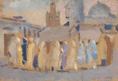 "Moses Levy (Tunisi 1885- Viareggio 1968), ""Rassemblement devant la Mosquée"",  1923. Media: olio su cartone Dimensione: 9,5 x 14 cm. (3.7 x 5.5 in.) View past auction results for MosesLevy on artnet"
