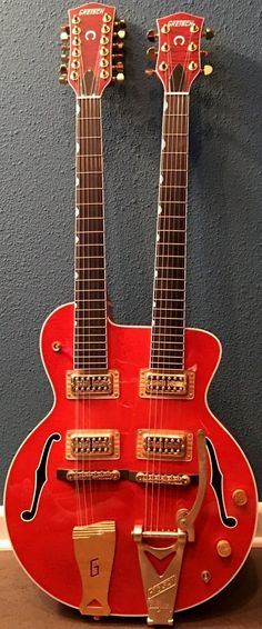 Gretsch 6120 Nashville 6 / 12 Doubleneck Guitar, (no whammy for the 12 string side) --- https://www.pinterest.com/lardyfatboy/