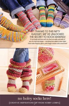 unlocked the secret to sock-making! It's our handy sock loom and it can churn out oodles and oodles of one-of-a-kind sock designs—everything from anklets to knee-highs! It also makes fingerless gloves, petite doggie sweaters and so much more! Knitting Loom Socks, Knifty Knitter, Loom Knitting Projects, Loom Knitting Patterns, Crochet Patterns, Diy Tricot Crochet, Loom Crochet, Crochet Socks, Knit Or Crochet