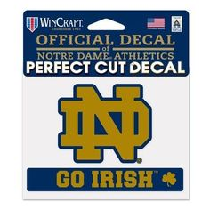 "Notre Dame Fighting Irish NCAA 4.5""""x5.75"""" Go Irish Perfect Cut Car Decal 365675"