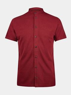 Red Grandad Collar Pique Shirt