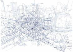 日本人建築家がボールペンで描いた「駅のレントゲン」が凄すぎる - ライブドアニュース