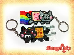 Nyan Cat keyrings hama mini beads by MangoCats