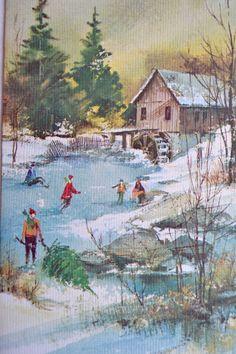 Vintage Christmas Card Ice Skating Pond Old Mill Used