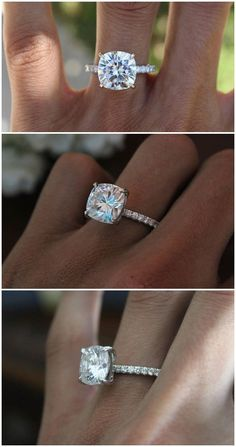 5 Carat Cushion Cut Forever One Moissanite & Diamond Hidden Halo Engagement Ring 14k 18k or Platinum - Anniversary Rings for Women 5ct #EngagementRings