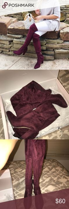 Ivanka Trump Burgundy Heels - LIKE NEW Over the knee boots. Only worn twice! Look brand new minus the bottom. Comes with box Ivanka Trump Shoes Over the Knee Boots