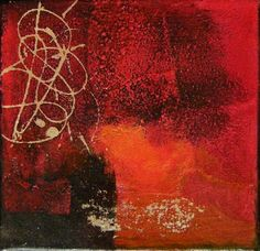 Lisa Mazzoni, peintre, carnettiste: OCRE ROUGE, acryl and gold Painting on canvas 30x30cm