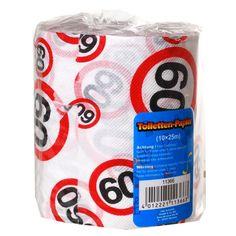 Toiletpapier 60 jaar met verkeersbord print. Toiletrol met 60 opdruk. De rol is circa 10 cm x 25 meter.