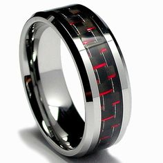 This inlaid men's tungsten ring is spectacular and will look fabulous on the hand for everyday or special occasions. The black and red carbon is woven in a stunning design. The highly polished finish glistens and gleams with every movement.