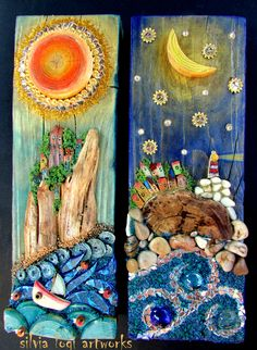 #seascapes with #sun and #moon in #wood and #mixedmedia #mosaic , see more on my facebook page https://www.facebook.com/pages/Silvia-Logi-Artworks/121475337893535?fref=photo