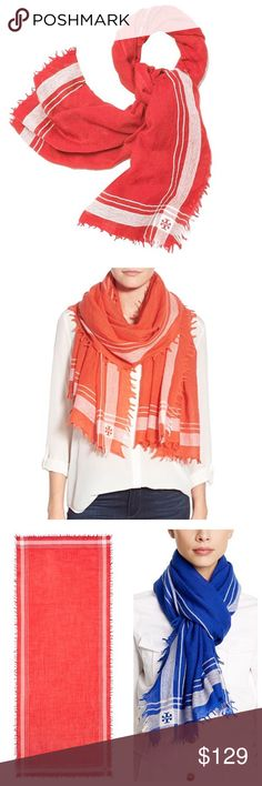 """✨NWT✨ Tory Burch Red Wool Fringe Scarf NWT! Authentic Tory Burch Signature scarf in red. Gauzy wool scarf styled with a striped border and feathery fringe. 100% wool. 82""""x32"""". Comes with Tory Burch gift box. ***NO TRADES*** Tory Burch Accessories Scarves & Wraps"""