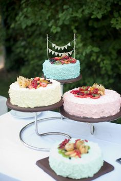 colourful tiered wed