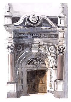 stone doorway watercolour using Marc Taro Holmes' Tea->Milk->Honey method