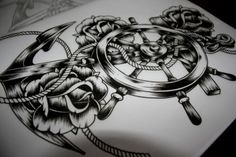 Boat Anchor with Steering Wheel, Rope,  Roses Tattoo Sketch with Shading.