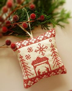 Embroidered Linen Nordic Red Folk Art Ornament  by CherieWheeler, $9.00