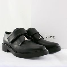 """NIB Vince Wren Leather Loafer in Black size EU 38 New with box, Vince Wren Leather Loafer in Black size EU 38. A modern take on the classic monk-strap loafer, this sleek almond-toe offering lends edgy polish to any autumnal look with its chic leather construction and gleaming silvertone plate. Details: 1 1/2"""" heel; 1/2"""" platform). Adjustable strap with hook-and-loop closure. Padded insole. Leather and metal upper/leather lining/leather and synthetic sole. By Vince; made in Italy. Original…"""