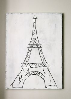 Hand painted distressed wood board with Eiffel Tower