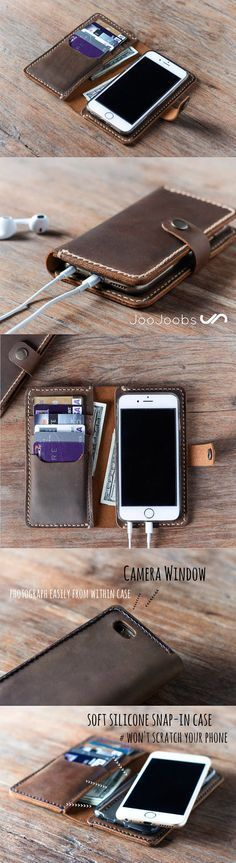 This handmade iPhone 7 wallet case is made from full grain distressed leather. We also make it for most iPhone and Samsung smartphones. This makes for an awesome, super unique gift idea. Iphone Leather Case, Iphone Wallet Case, Iphone Cases, Iphone 7, Cellphone Case, Handmade Leather Wallet, Leather Gifts, Leather Craft, Leather Jewelry