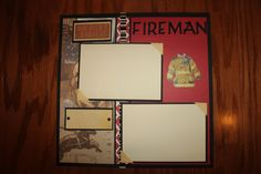 12 x 12 fireman scrapbook layout premade by creationsbycindyg, $6.00