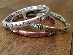 Faith Hope Love | Set of 3 Bracelets in antiqued silver or tri-tone silver, brass, and copper.  Stretches to fit any wrist.
